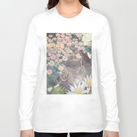 budi satria kwan Long Sleeve T-shirts featuring Reflections - Zen Garden Kwan Yin Goddess Art by Fusion Idol
