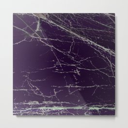 Purple Marble Crease Texture Design Metal Print
