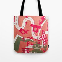 robot Tote Bags featuring Robot by Jan Luzar