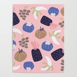 Cute pattern of fruits and vegetables Poster