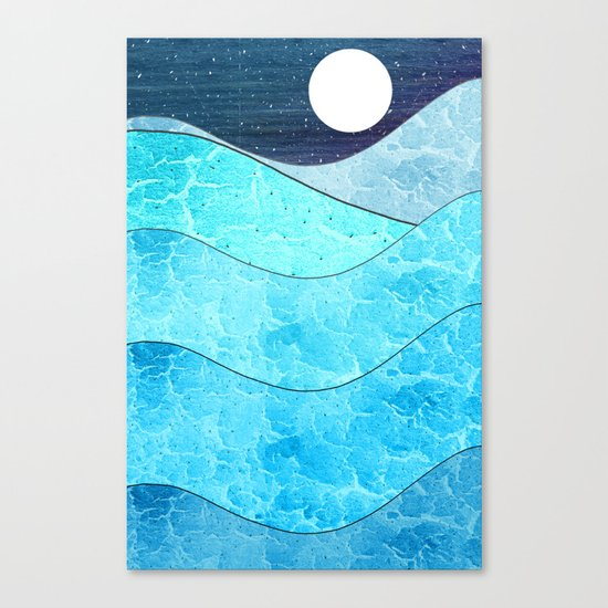 Ice Blue Waves Canvas Print