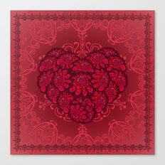 Red floral heart. Canvas Print