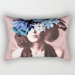 Floral Woman Vintage Blue and Pink Rose Gold Rectangular Pillow