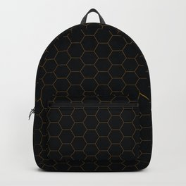 Black with fine line gold hexagon pattern Backpack