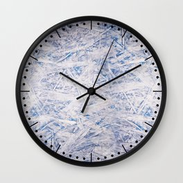 Blue white chipboard texture Wall Clock