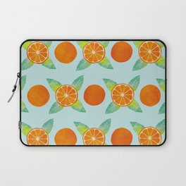 Watercolor Oranges Pattern in Blue Laptop Sleeve