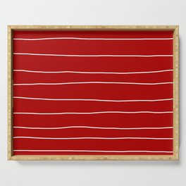 Abstract White Lines on Red Serving Tray
