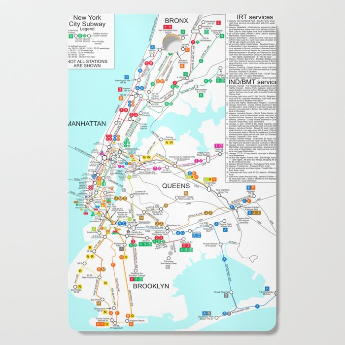 Subway Map Of The Bronx.New York City Metro Subway Map Cutting Board By Vintageartstore