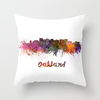 oakland Throw Pillows featuring Oakland skyline in watercolor by Paulrommer