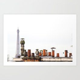 Eiffel Tower and Chimneys in Paris  Art Print