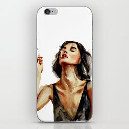 Smoking lady with cigaret with red lipstick on a lips, white background iPhone Skin