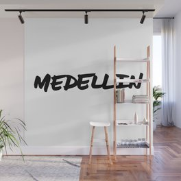 Medellin Colombia Hand Letter Type Word Black & White   Wall Mural