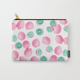 Citrus Lemons in Pink and Teal Carry-All Pouch
