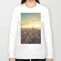 cityscape Long Sleeve T-shirts featuring New York Skyline Cityscape by Vivienne Gucwa