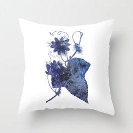 Watercolor Indigo Passion Flower Throw Pillow