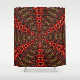 Red, Green And Gold Kaleidoscopic Abstract Shower Curtain