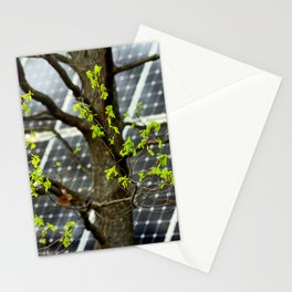 Four Seasons Photosynthesis - Spring. Blooming Oak Tree And A Solar Power Panel Stationery Cards