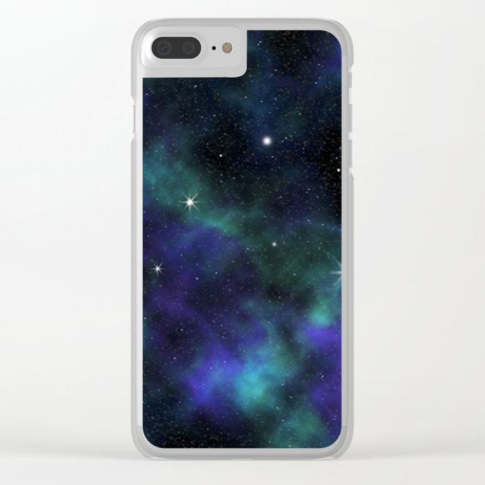 Blue Green Galaxy Clear iPhone Case