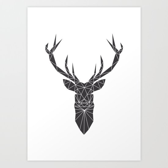 Grey Deer Head Illustration by paintxprint