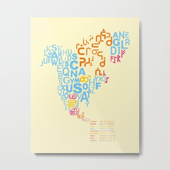 North America ~ Writing Sistems Metal Print