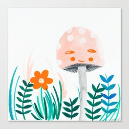 pink mushroom with floral elements Canvas Print