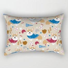 Corgi baseball themes sports dog fabric welsh corgis dog breeds gifts Rectangular Pillow
