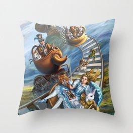 Steampunk Alice in Wonderland Teacups Throw Pillow