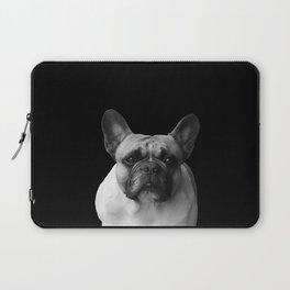 Pug black & white -- black background Laptop Sleeve