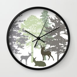 Morning Deer In The Woods No. 1 Wall Clock