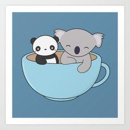Kawaii Cute Koala and Panda Art Print