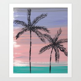 palm trees in the sunset Art Print