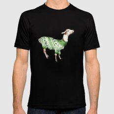 Llama in a Green Deer Sweater Black Mens Fitted Tee MEDIUM