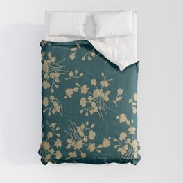Gold Green Blue Flower Sihlouette Comforters