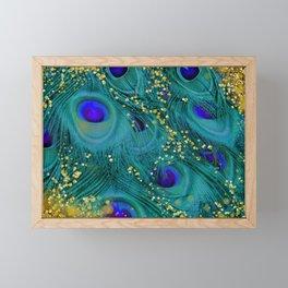 Teal Peacock Feathers Framed Mini Art Print