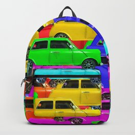 vintage car toy pattern background in yellow blue pink green orange Backpack