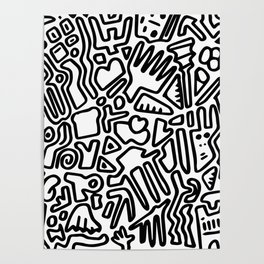 black & white doodle Poster