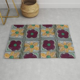 Big Red Poppy and Big Yellow Daisy Quad Flip Rug