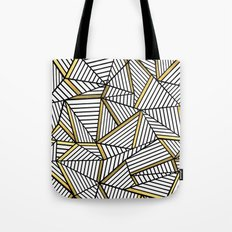 Ab Lines 2 White Gold Tote Bag