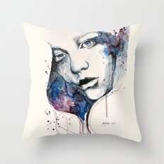 Window, watercolor & ink painting Throw Pillow