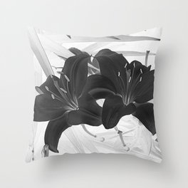 Contemporary Black Lily Flower Floral Art A116 Throw Pillow