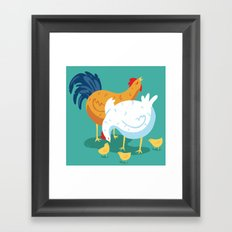 Chicken Family Framed Art Print
