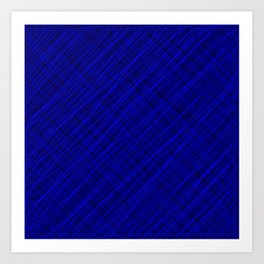 Royal ornament of their blue threads and dark intersecting fibers. Art Print
