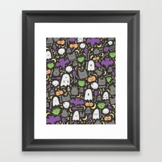 Kawaii Halloween - Black Framed Art Print