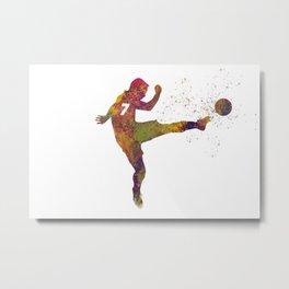 Soccer player in watercolor 11 Metal Print