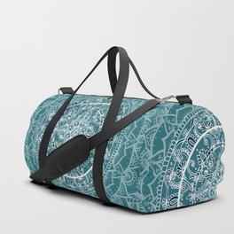 Detailed Teal and Blue Mandala Pattern Duffle Bag