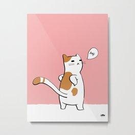 Cat Pinup - Orange Metal Print