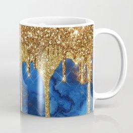 Gold Rain on Indigo Marble Coffee Mug