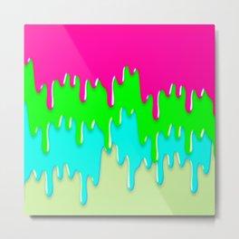 Funny Melting Icecream Neon Pink Green Teal Metal Print