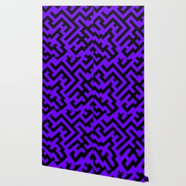 Black and Indigo Violet Diagonal Labyrinth Wallpaper