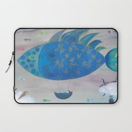 Flying Fish in Sea of Clouds with Sleeping Child Laptop Sleeve